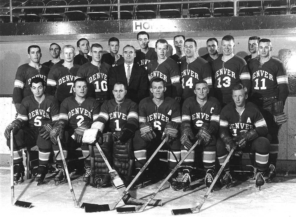 1f27dcf899e 1960-61 Men's Ice Hockey - NCAA Champions by Jim Graham - Denver Post  Denver dominated the 1961 NCAA Championship game by a final score of 12-2  over St. ...